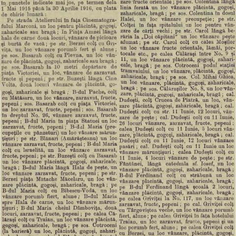Licitatii comert stradal 1915